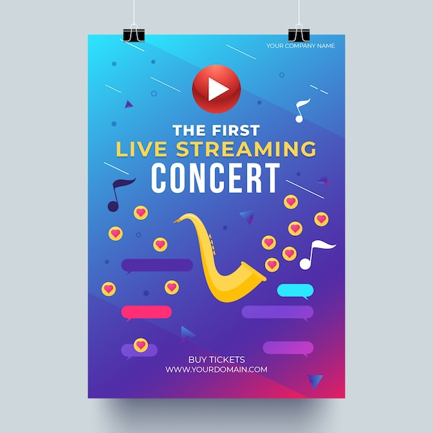 Affiche De Concert De Musique En Streaming En Direct Vecteur gratuit
