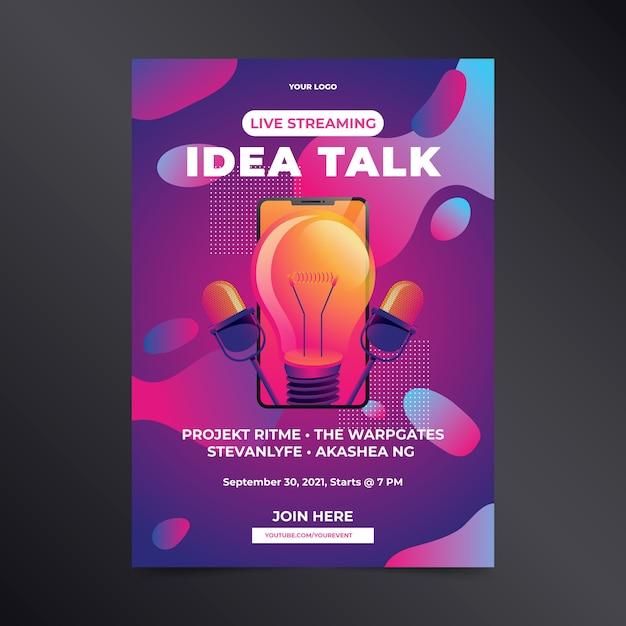 Affiche De Conversation D'idée De Streaming En Direct Dessinée à La Main Vecteur gratuit