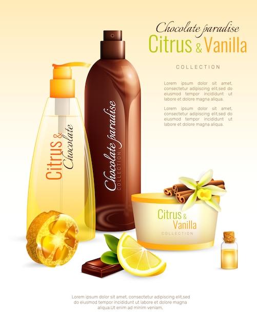 Affiche de cosmétiques faits main avec des ingrédients nutritifs Vecteur gratuit