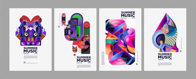 Affiche et couverture du festival d'art et de musique colorés de l'été Vecteur Premium