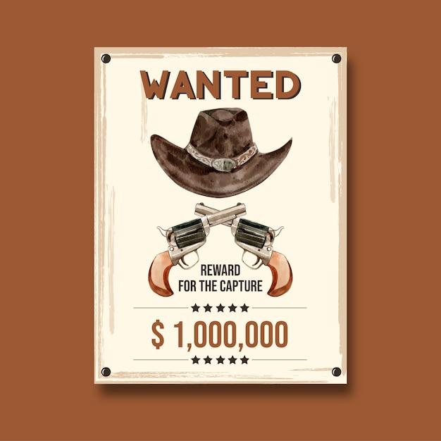 Affiche de cow-boy avec chapeau et arme à feu Vecteur gratuit