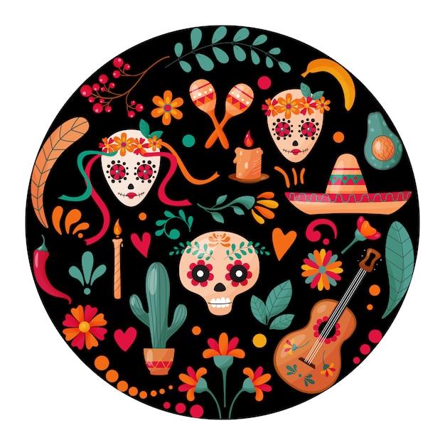 Affiche avec des crânes en sucre, décoration florale et des fruits Vecteur Premium
