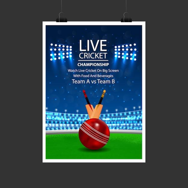 Affiche de cricket Vecteur Premium