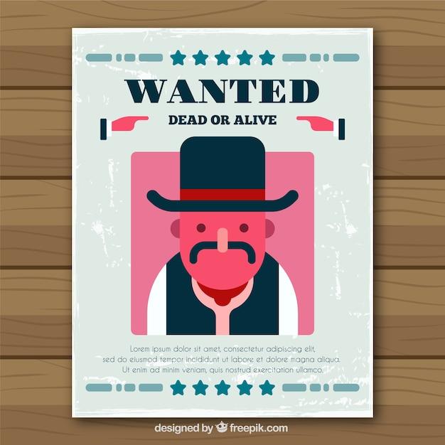 Affiche criminelle occidental design plat Vecteur gratuit