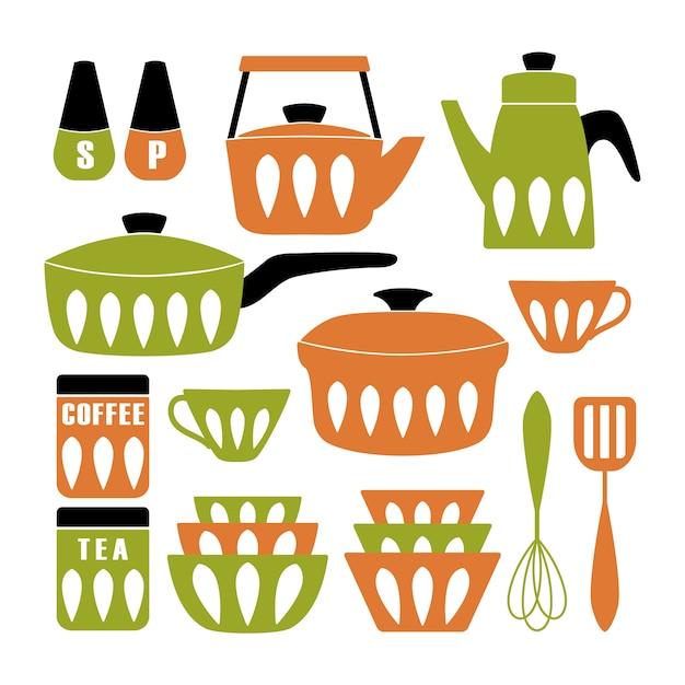 Affiche de cuisine moderne du milieu du siècle. Vecteur Premium