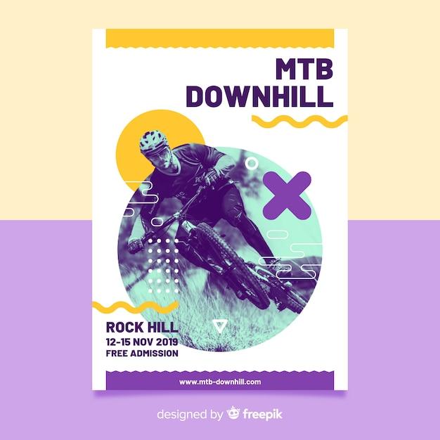 Affiche de cyclisme extrême style memphis Vecteur gratuit