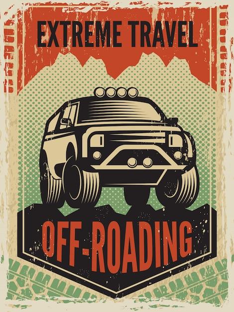 Affiche Dans Un Style Rétro Avec Grande Voiture Suv. Machine Hors Route Vecteur Premium