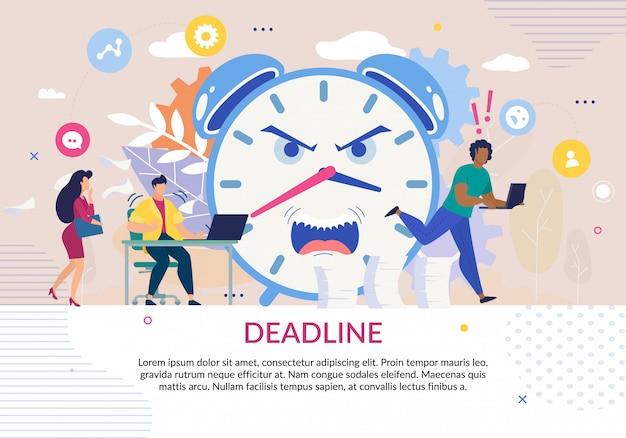 Affiche Dans Le Thème Date Limite Avec Des Personnes Stressées Vecteur Premium