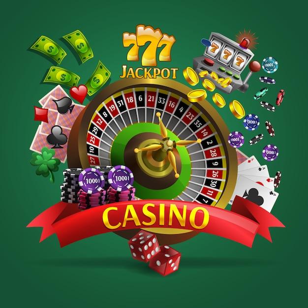 Affiche de casino sur fond vert Vecteur gratuit