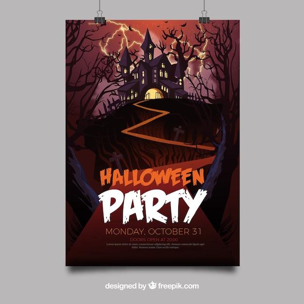 Affiche de fête de Halloween avec château Vecteur gratuit