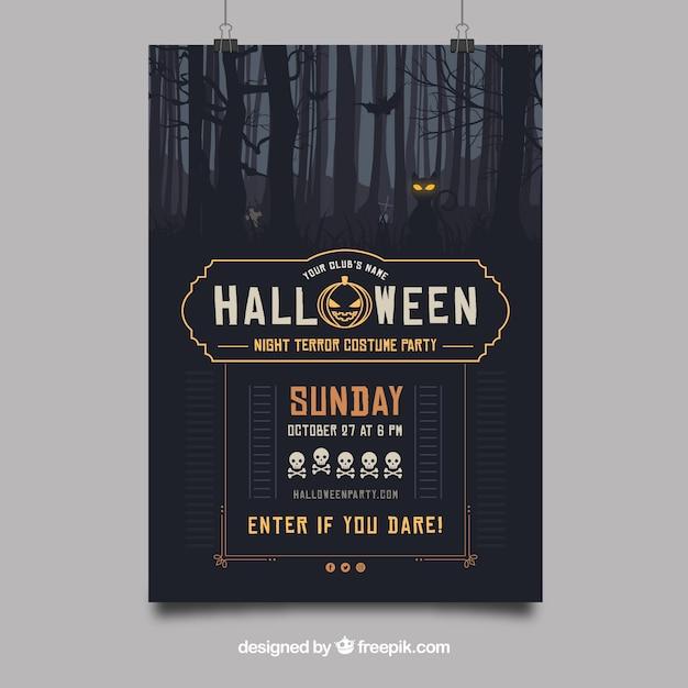 Affiche de fête de Halloween avec une forêt ténébreuse Vecteur gratuit