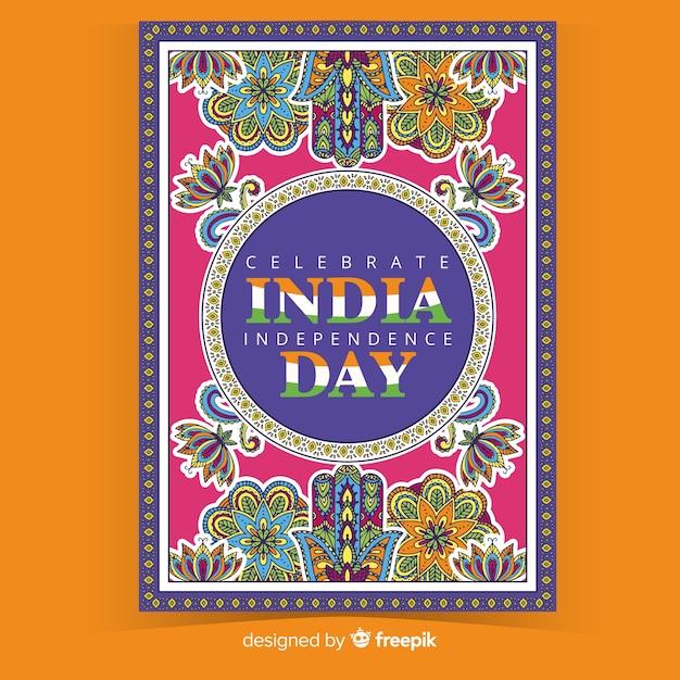 Affiche décorative de la fête de l'indépendance indienne Vecteur gratuit