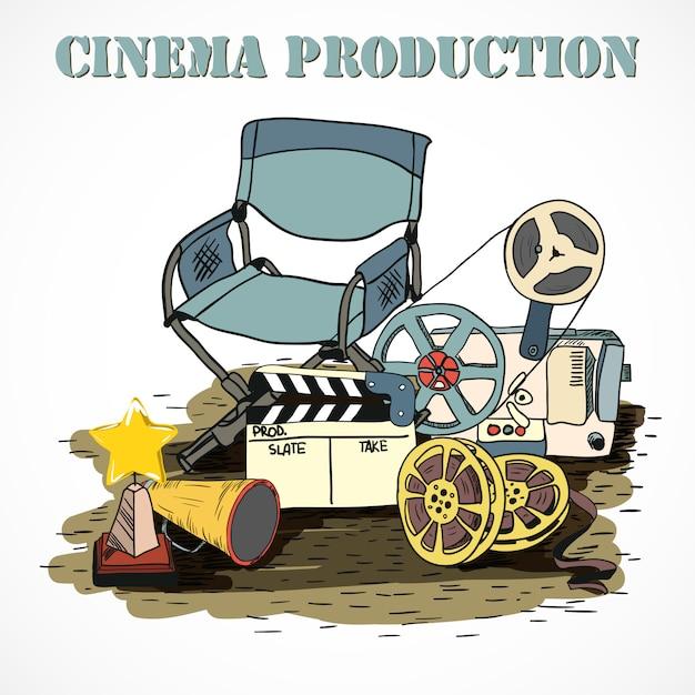 Affiche décorative de production cinématographique Vecteur Premium