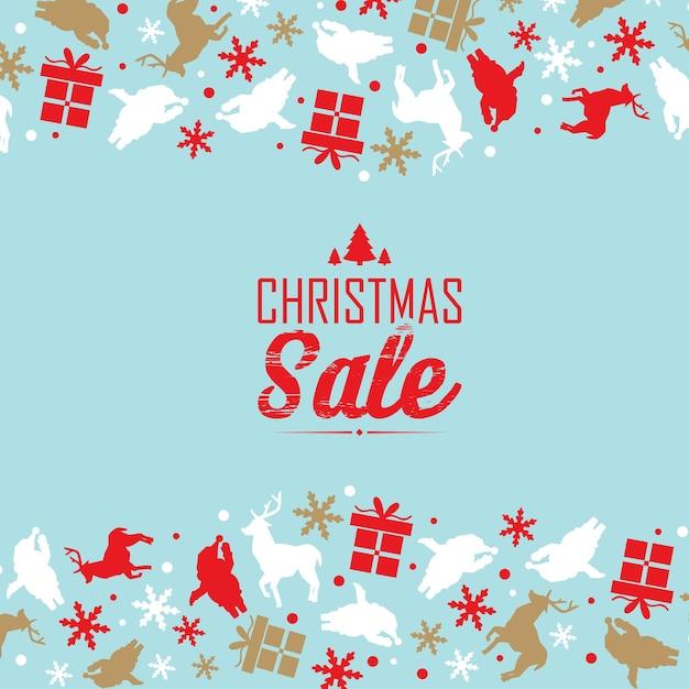 Affiche Décorative De Vente De Noël Divisée En Trois Parties Avec Un Texte Rouge Sur Les Remises Et Les Symboles Traditionnels Vecteur gratuit