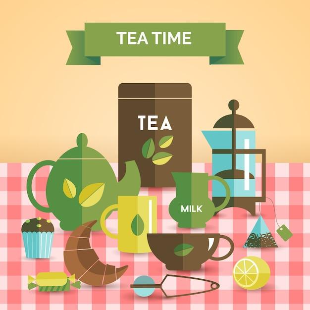 Affiche décorative vintage de l'heure du thé Vecteur gratuit