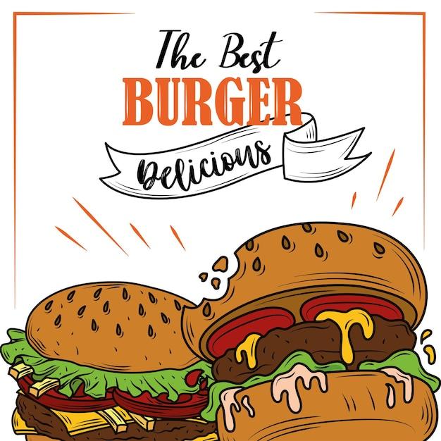 Affiche De Délicieux Ingrédients Frais Classiques De Restauration Rapide De Hamburgers Vecteur Premium