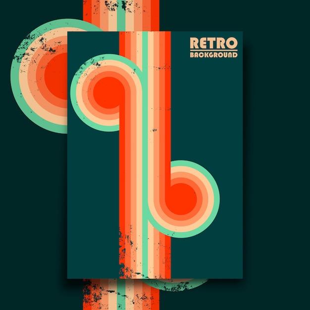 Affiche Design Rétro Avec Texture Grunge Vintage Et Rayures Torsadées Colorées. Illustration Vectorielle Vecteur Premium