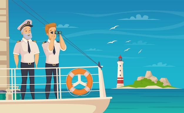 Affiche de dessin animé de capitaine d'équipage de bateau Vecteur gratuit
