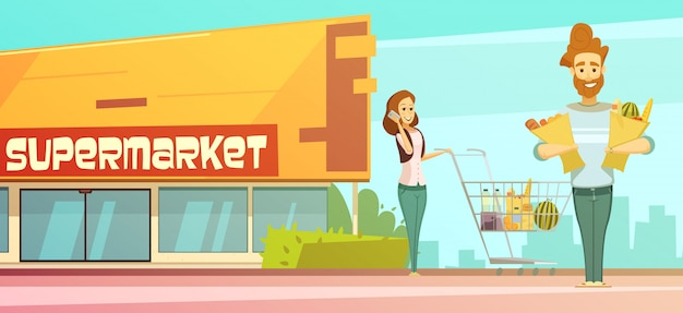 Affiche de dessin animé rétro supermarché familial supermarché avec vue de rue de bâtiment Vecteur gratuit