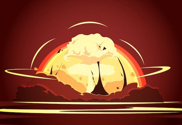 Affiche De Dessin Animé Rétro De Test D'armes Nucléaires Avec Montée Radioactive Vecteur gratuit