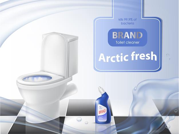 Affiche de détergent, concept de nettoyage, bol de toilette réaliste, désinfectant liquide Vecteur gratuit
