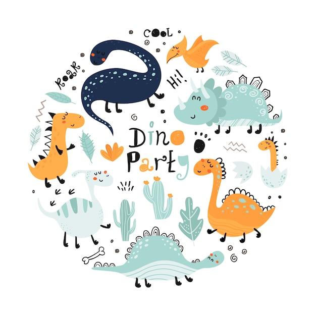 Affiche avec dinosaures mignons et lettrage. Vecteur Premium
