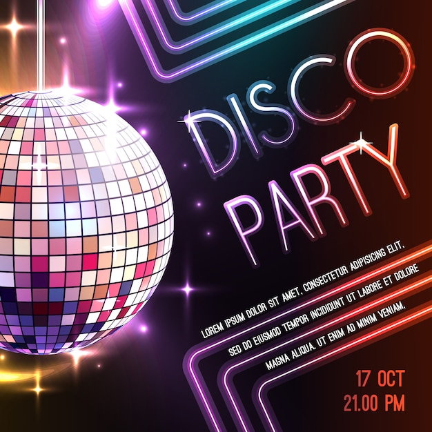 Affiche Disco Party Vecteur gratuit