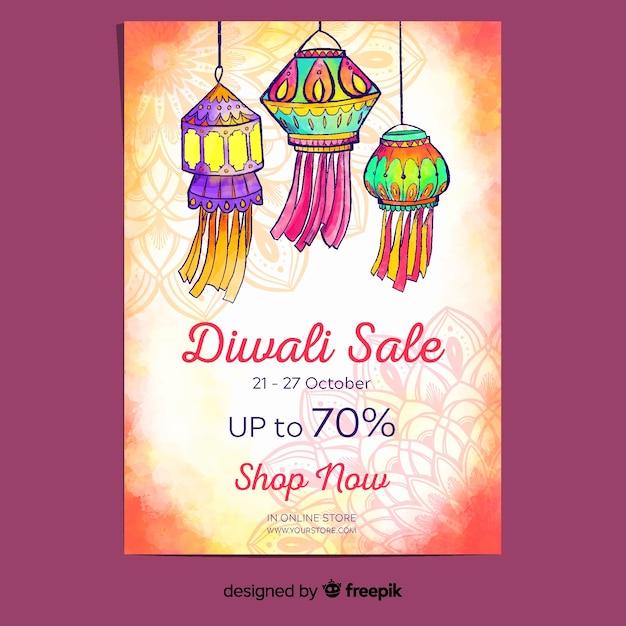 Affiche De Diwali Dans Un Style Aquarelle Vecteur gratuit