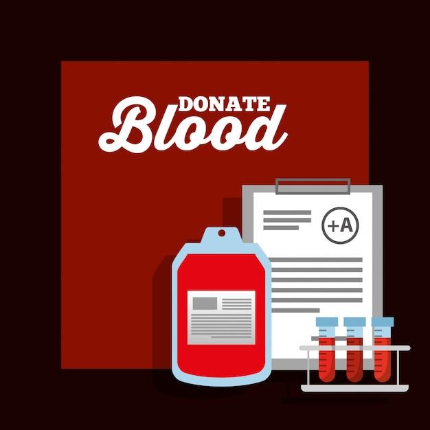 Affiche de donation de tube à essai de sang de sac et de presse-papiers Vecteur Premium