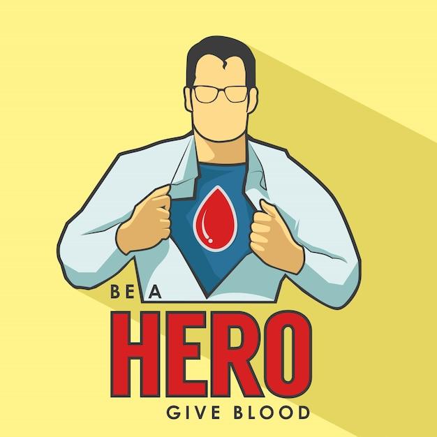Affiche de dons de sang super-héros Vecteur Premium