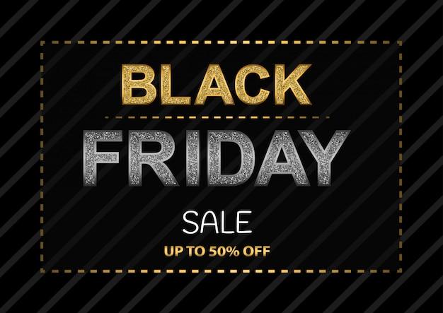 Affiche Du Black Friday Avec Des Lettres Scintillantes Vecteur Premium