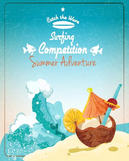 Affiche du concours de surf Vecteur Premium