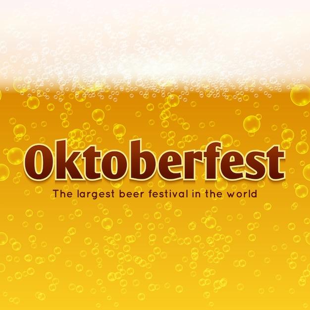 Affiche Du Festival De La Bière Oktoberfest Avec Bière, Bulles Et Fond De Mousse. Vecteur Premium
