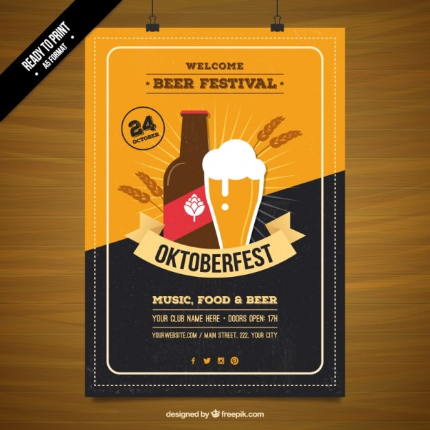 Affiche du festival de la bière Vecteur gratuit