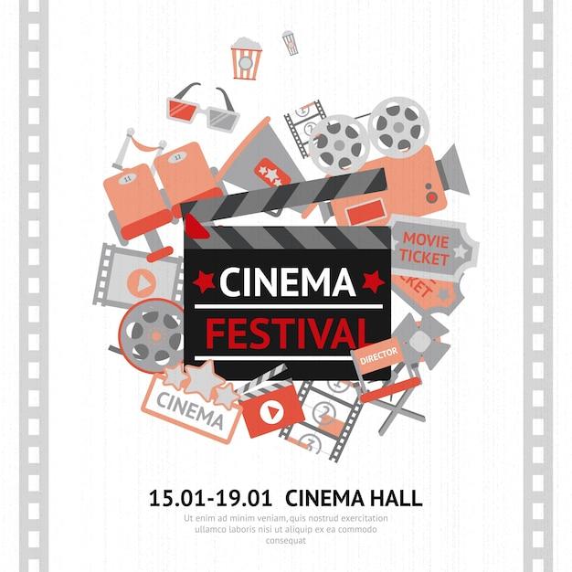 Affiche du festival du cinéma Vecteur gratuit