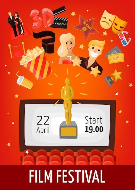 Affiche Du Festival Du Film Vecteur gratuit