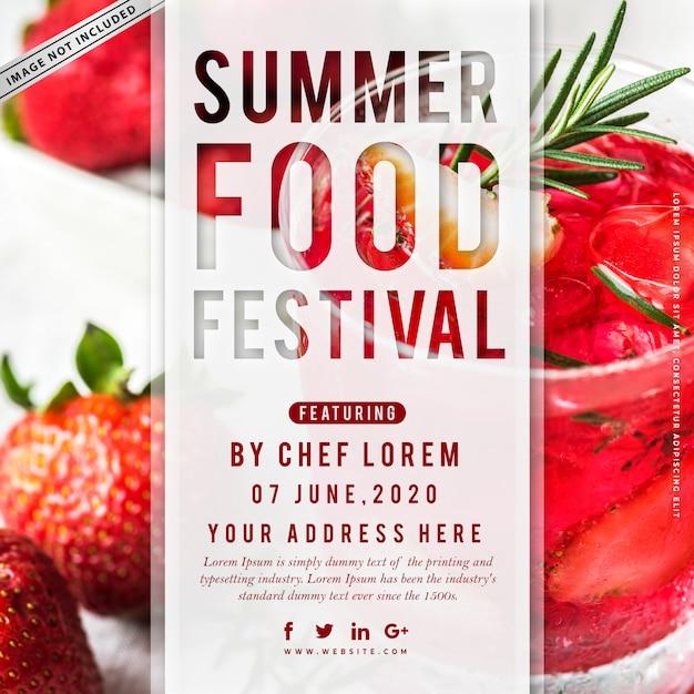 Affiche du festival gastronomique d'été Vecteur Premium