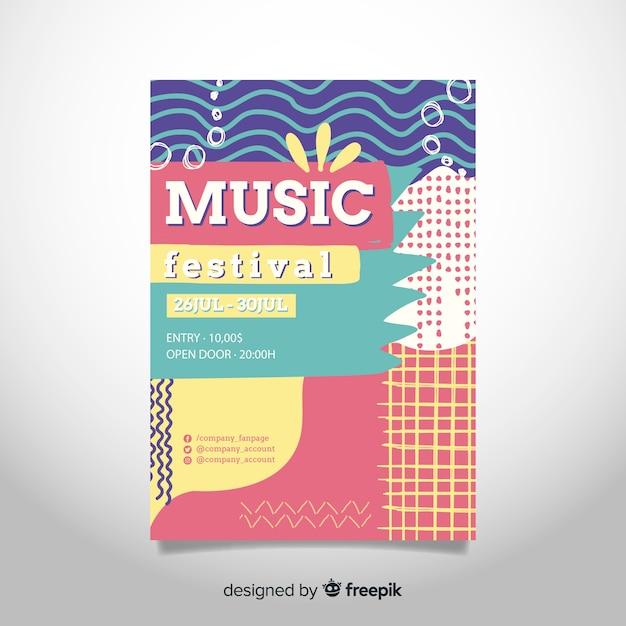 Affiche du festival de musique abstraite dessiné à la main Vecteur gratuit