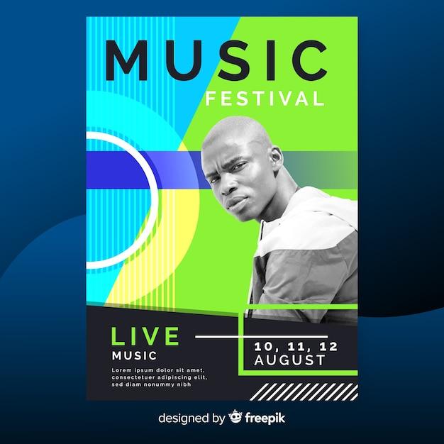 Affiche du festival de musique abstraite avec photo Vecteur gratuit
