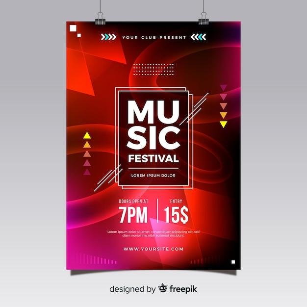 Affiche du festival de musique abstraite Vecteur gratuit