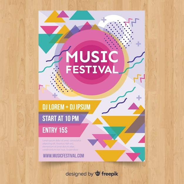 Affiche du festival de musique colorée Vecteur gratuit
