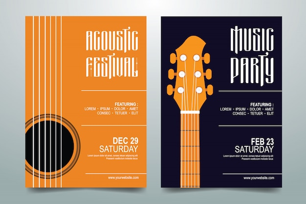Affiche du festival de musique créative Vecteur Premium