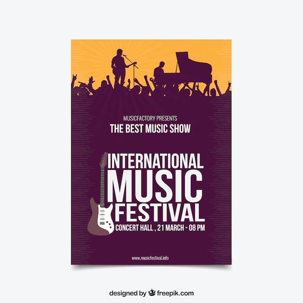 Affiche Du Festival De Musique Dans Le Style Plat Vecteur gratuit