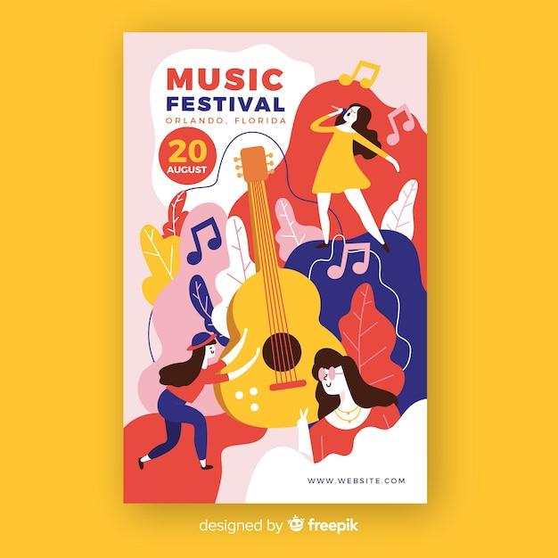 Affiche du festival de musique dessiné à la main avec guitare Vecteur gratuit
