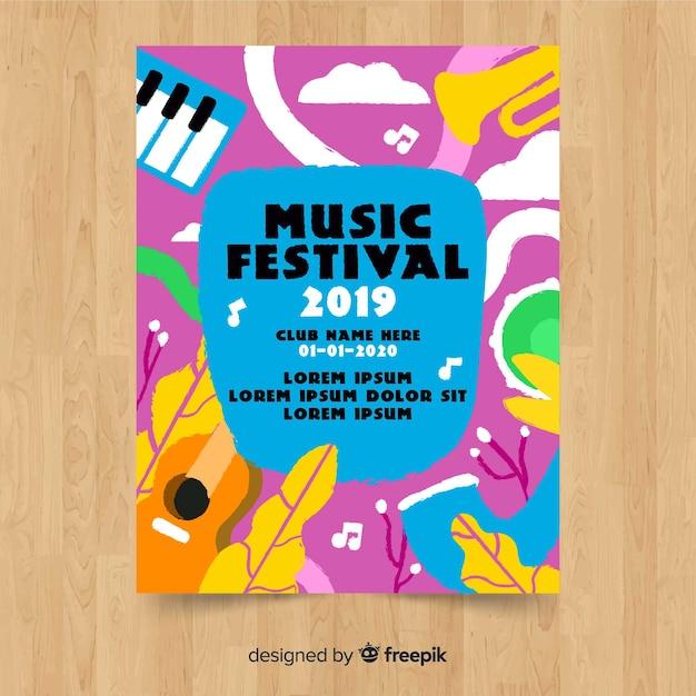 Affiche du festival de musique dessiné à la main Vecteur gratuit
