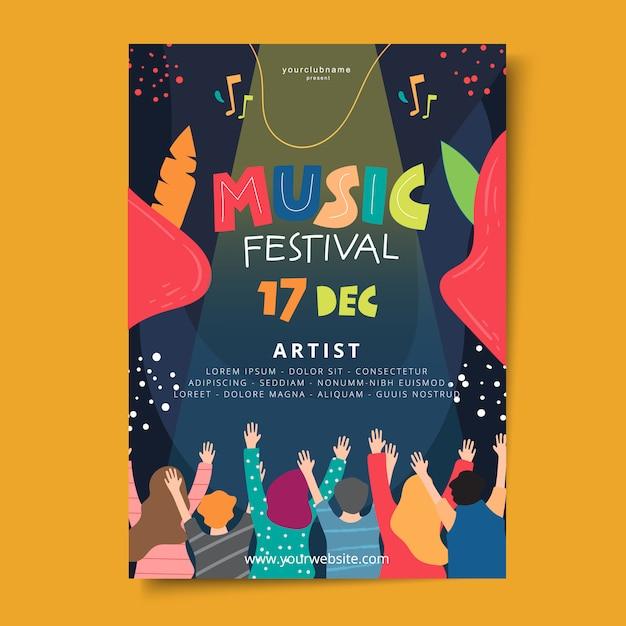 Affiche du festival de musique dessinée à la main Vecteur Premium