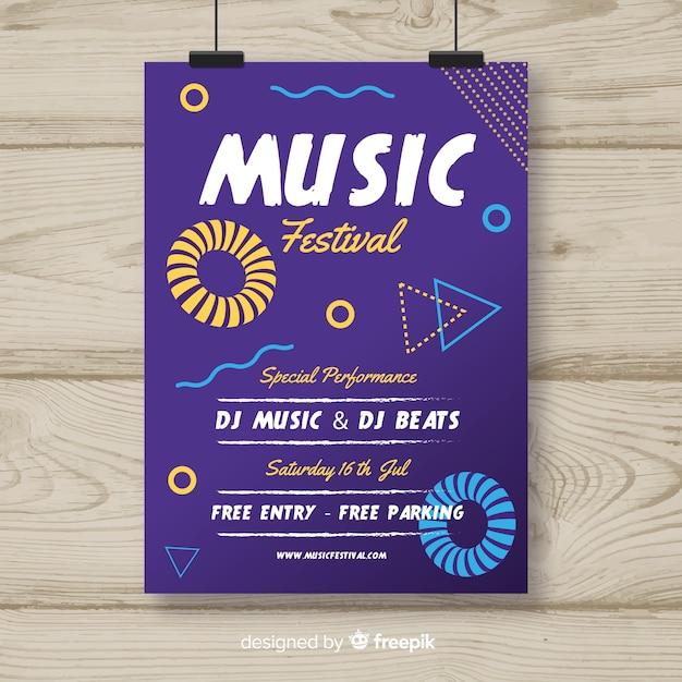 Affiche du festival de musique dessinée à la main Vecteur gratuit