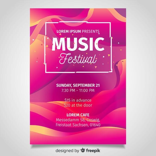 Affiche du festival de musique à effet liquide Vecteur gratuit