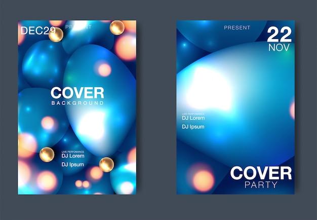 Affiche du festival de musique électronique avec des lignes de dégradé abstraites. modèle de conception vecteur pour flyer, présentation, brochure Vecteur Premium