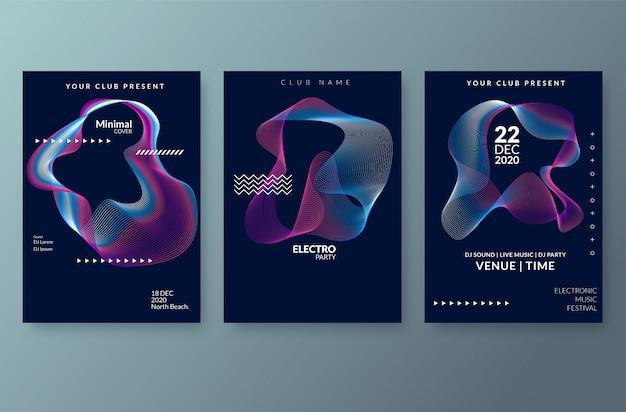 Affiche du festival de musique électronique avec des lignes de dégradé abstraites. modèle de vecteur pour flyer, présentation, brochure Vecteur Premium